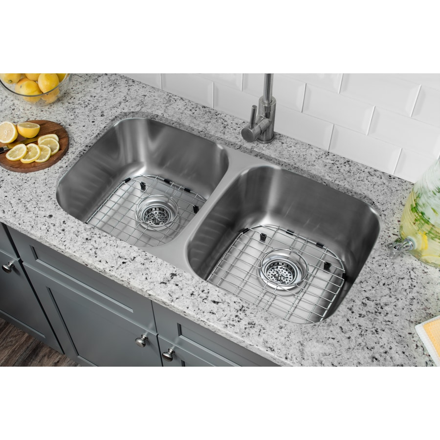 Superior Sinks 29.125-in x 18.5-in Brushed Satin Double-Basin Stainless Steel Undermount Residential Kitchen Sink All-In-One Kit
