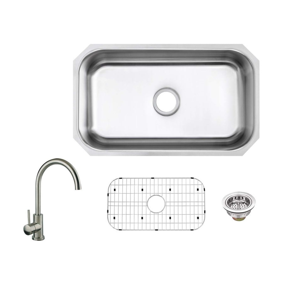 Superior Sinks 30-in x 18-in Brushed Satin Single-Basin Undermount Commercial/Residential Kitchen Sink All-In-One Kit