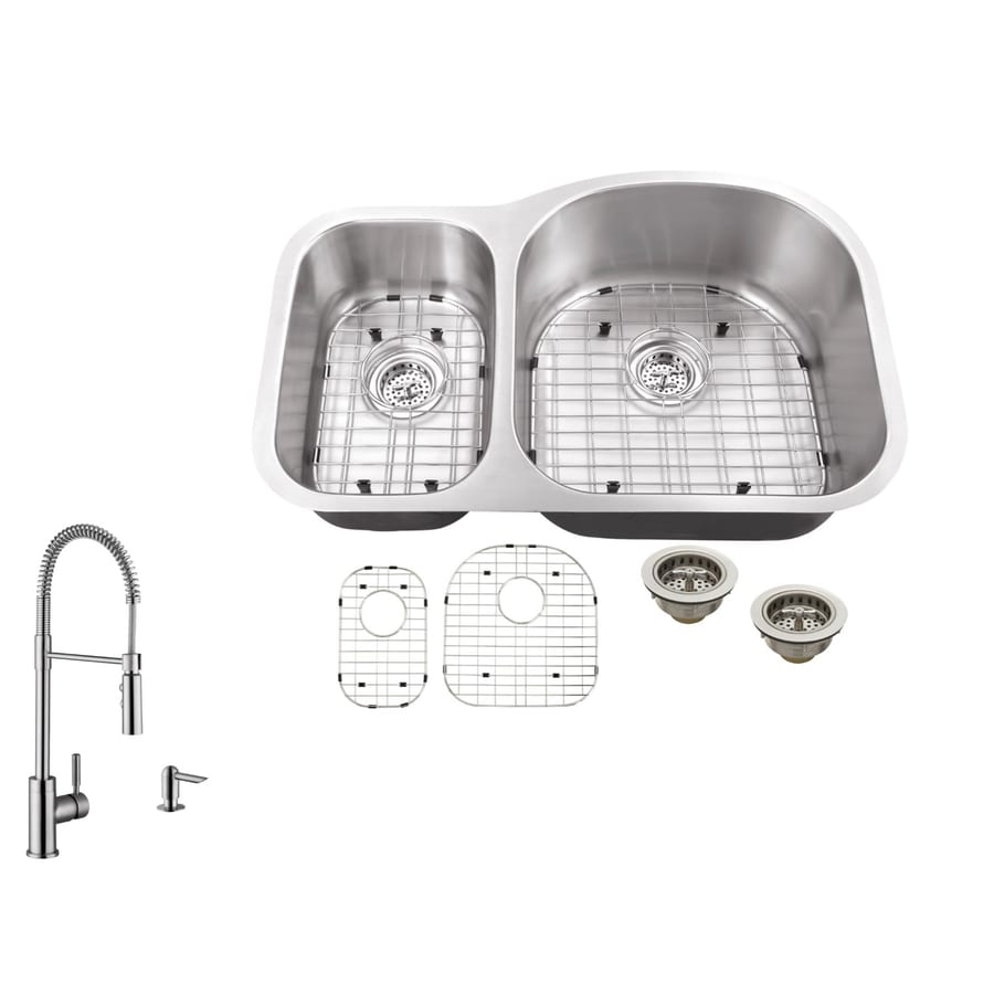 Superior Sinks 31.5-in x 20.5-in Brushed Satin Double-Basin Stainless Steel Undermount Commercial/Residential Kitchen Sink All-In-One Kit