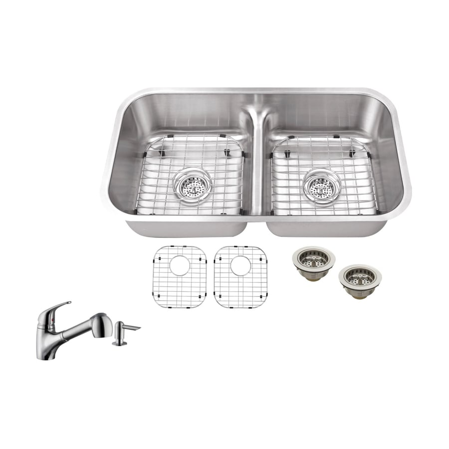 Superior Sinks 32.375-in x 18.13-in Brushed Satin Double-Basin Stainless Steel Undermount Commercial/Residential Kitchen Sink All-In-One Kit