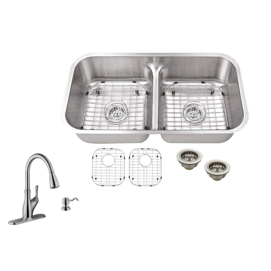 Superior Sinks 32.375-in x 18.13-in Brushed Satin Double-Basin Undermount Commercial/Residential Kitchen Sink All-In-One Kit