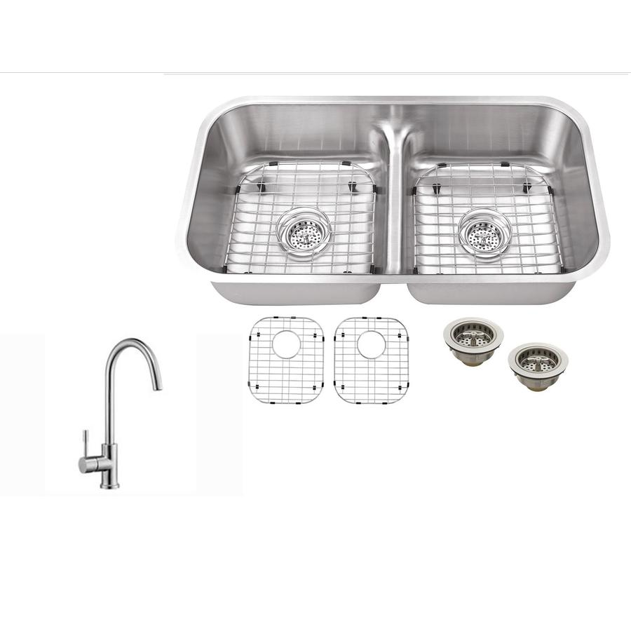 Superior Sinks 32.375-in x 18.13-in Brushed Satin Double-Basin Stainless Steel Undermount Residential Kitchen Sink All-in-One Kit