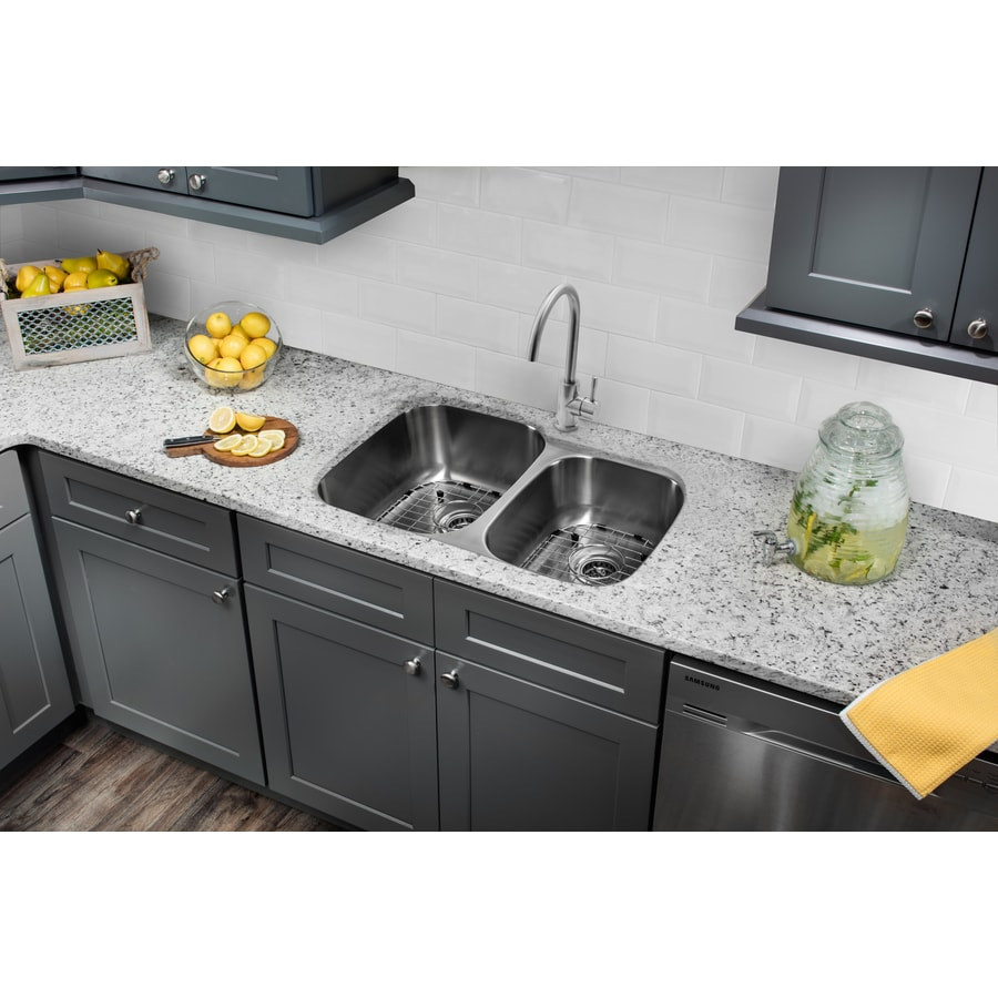 Superior Sinks 32.0-in x 20.75-in Brushed Satin Double-Basin Stainless Steel Undermount Residential Kitchen Sink All-In-One Kit