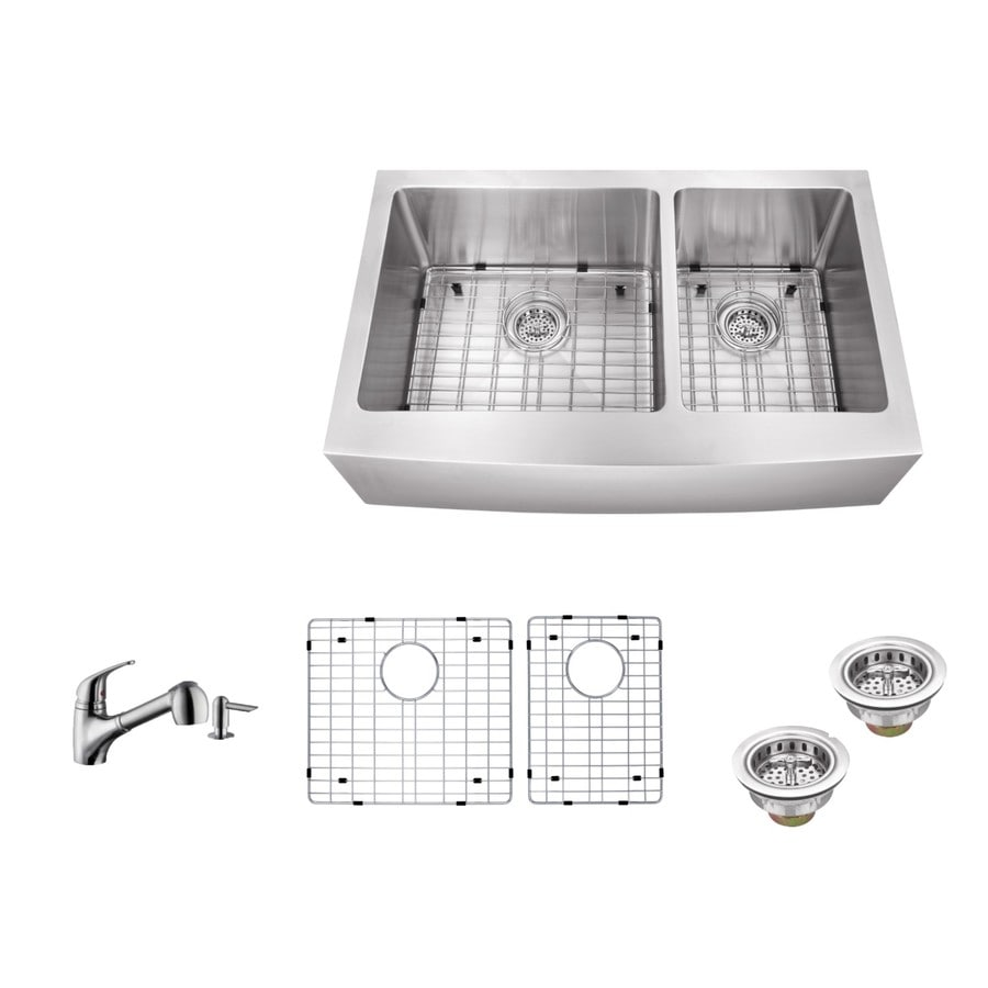 Superior Sinks 35.875-in x 20.75-in Brushed Satin Double-Basin Stainless Steel Apron Front/Farmhouse Residential Kitchen Sink All-In-One Kit
