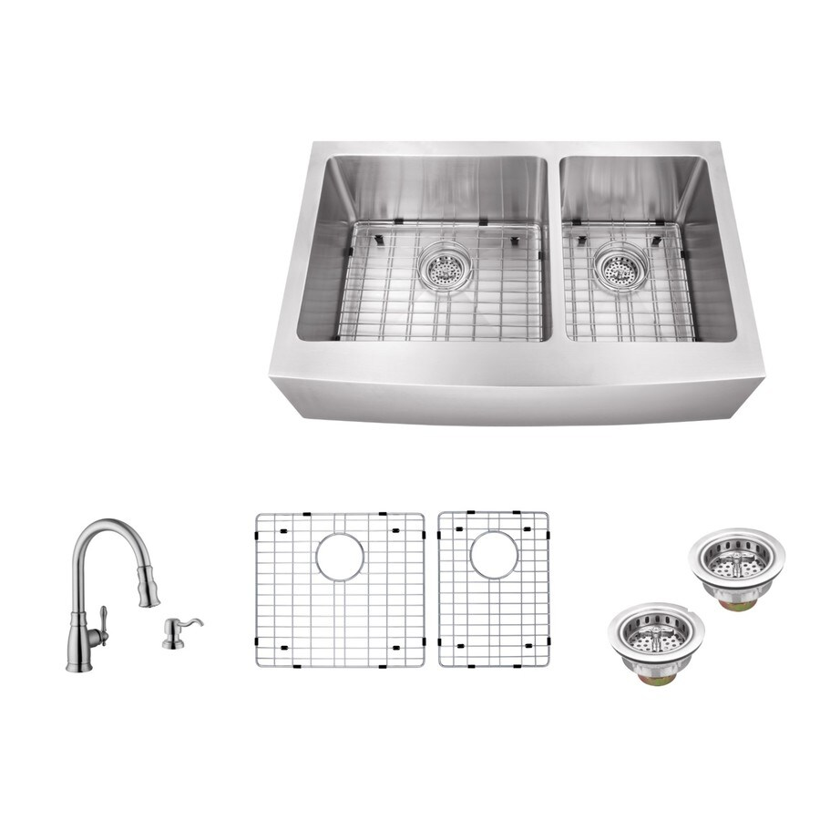 Superior Sinks 35.875-in x 20.75-in Brushed Satin Double-Basin Apron Front/Farmhouse Commercial/Residential Kitchen Sink All-In-One Kit