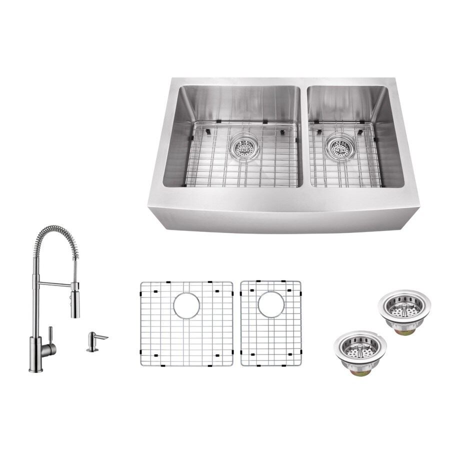 Superior Sinks 35.875-in x 20.75-in Brushed Satin Double-Basin Stainless Steel Apron Front/Farmhouse Commercial/Residential Kitchen Sink All-In-One Kit