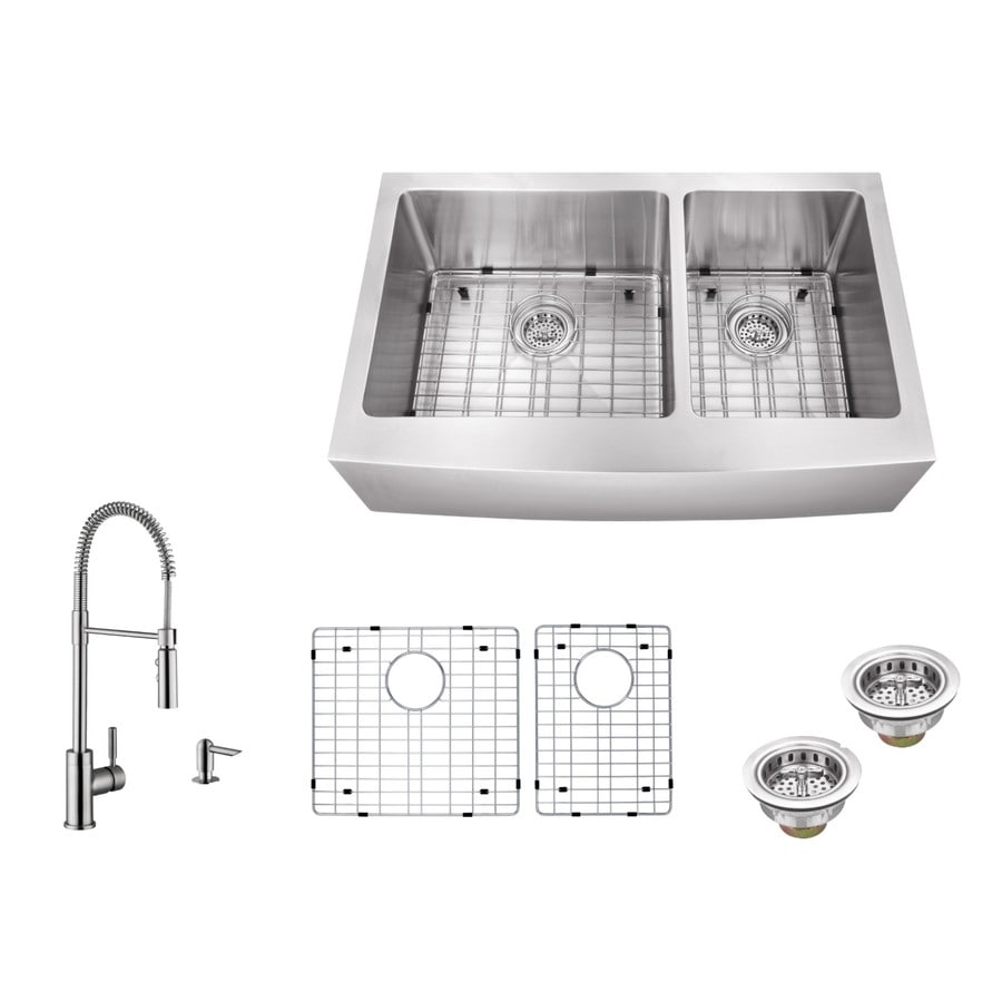 Superior Sinks 33-in x 20-in Brushed Satin 2 Stainless Steel Apron Front/Farmhouse (Customizable)-Hole Commercial/Residential Kitchen Sink All-In-One Kit