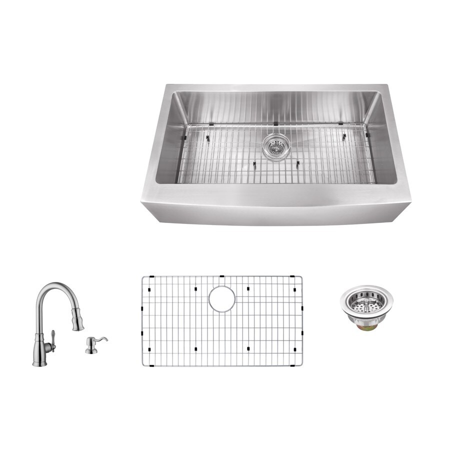 Superior Sinks 36-in x 20-in Brushed Satin Single-Basin Stainless Steel Apron Front/Farmhouse Residential Kitchen Sink All-In-One Kit