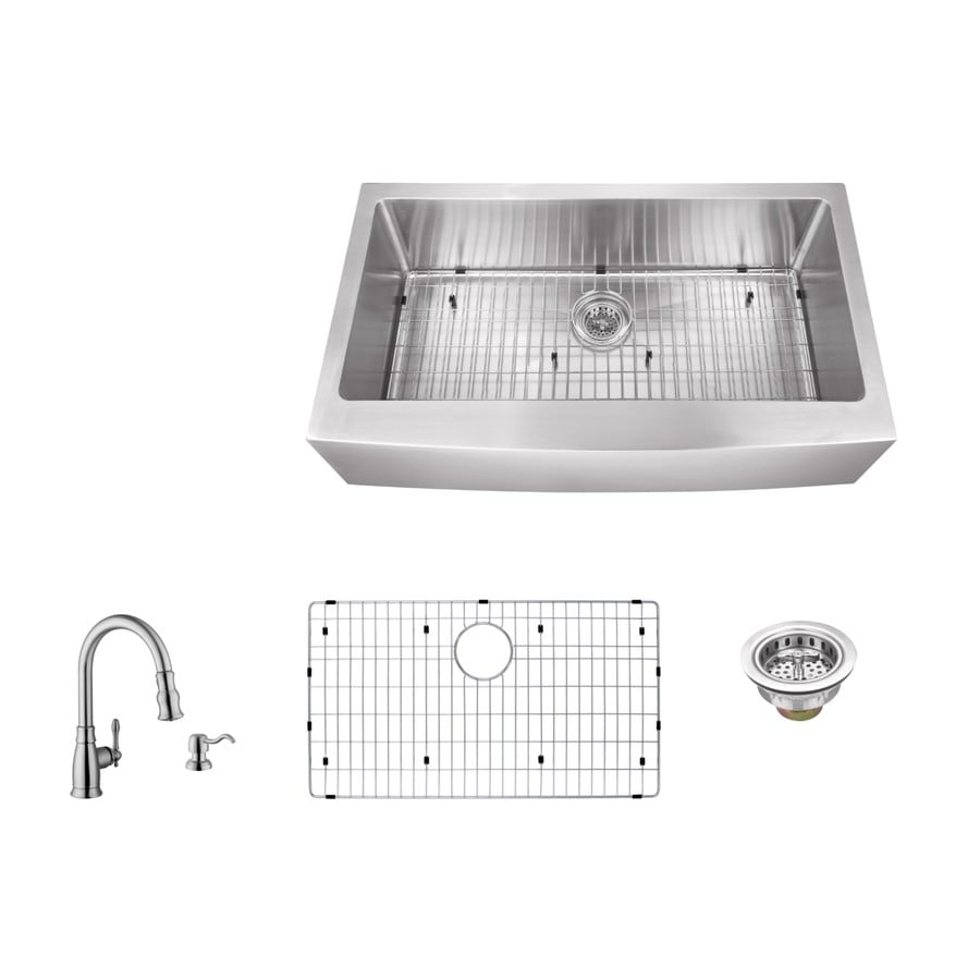 Superior Sinks 33-in x 20-in Brushed Satin 1 Stainless Steel Apron Front/Farmhouse (Customizable)-Hole Commercial/Residential Kitchen Sink All-In-One Kit