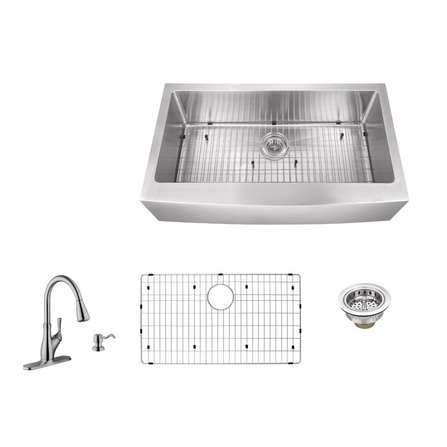 Superior Sinks 33-in x 20-in Brushed Satin Single-Basin Apron Front/Farmhouse Commercial/Residential Kitchen Sink All-In-One Kit