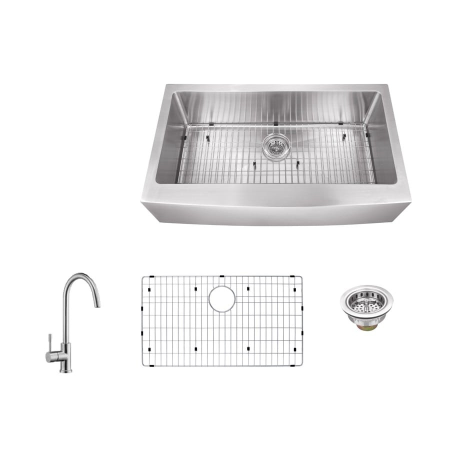 Superior Sinks 33-in x 20-in Brushed Satin Single-Basin Stainless Steel Apron Front/Farmhouse Commercial/Residential Kitchen Sink All-In-One Kit