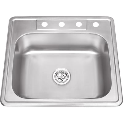25-in x 22-in Brushed Satin Single Bowl Drop-In 4-Hole Residential Kitchen  Sink