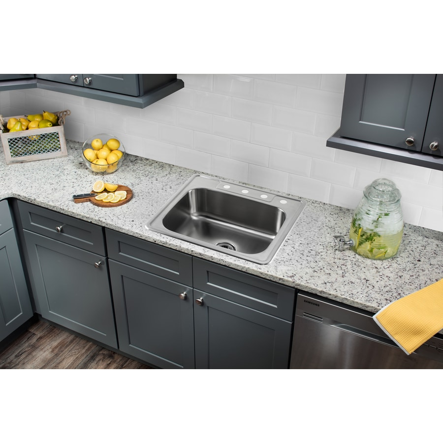 Superior Sinks 25-in x 22-in Brushed Satin Single-Basin Stainless Steel Drop-In 4-Hole Residential Kitchen Sink