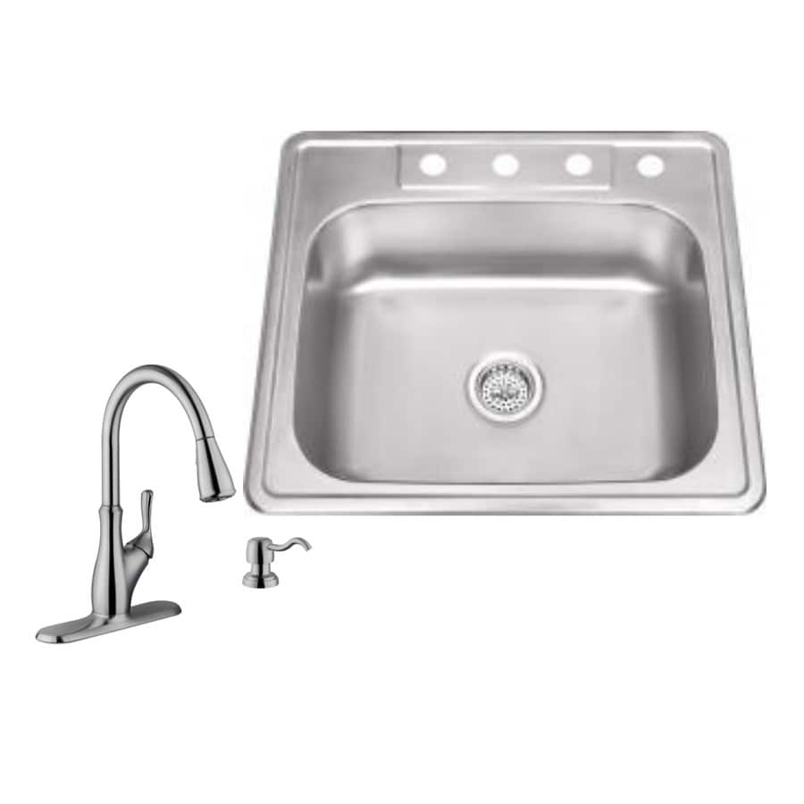 Superior Sinks 25-in x 22-in Brushed Satin Single-Basin Drop-in 4-Hole Commercial/Residential Kitchen Sink All-In-One Kit