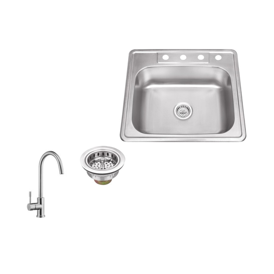 Superior Sinks 25-in x 22-in Brushed Satin Single-Basin Stainless Steel Drop-in 4-Hole Commercial/Residential Kitchen Sink All-In-One Kit