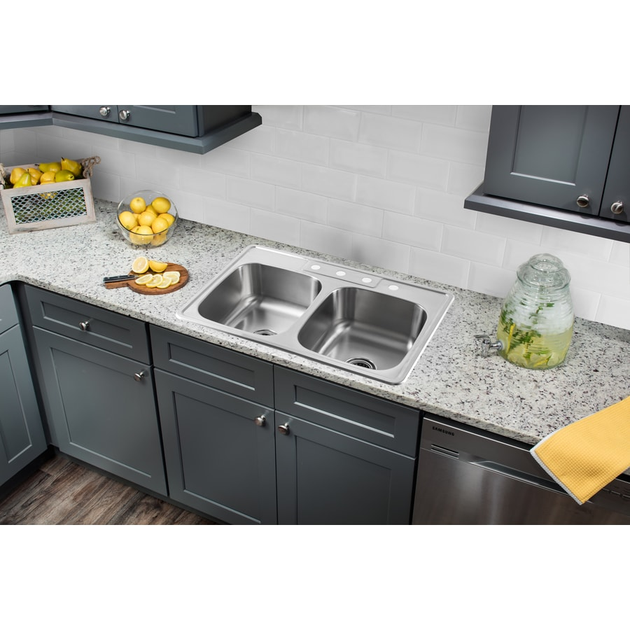 Superior Sinks 33-in x 22-in Brushed Satin Double-Basin Stainless Steel Drop-In 4-Hole Residential Kitchen Sink All-in-One Kit