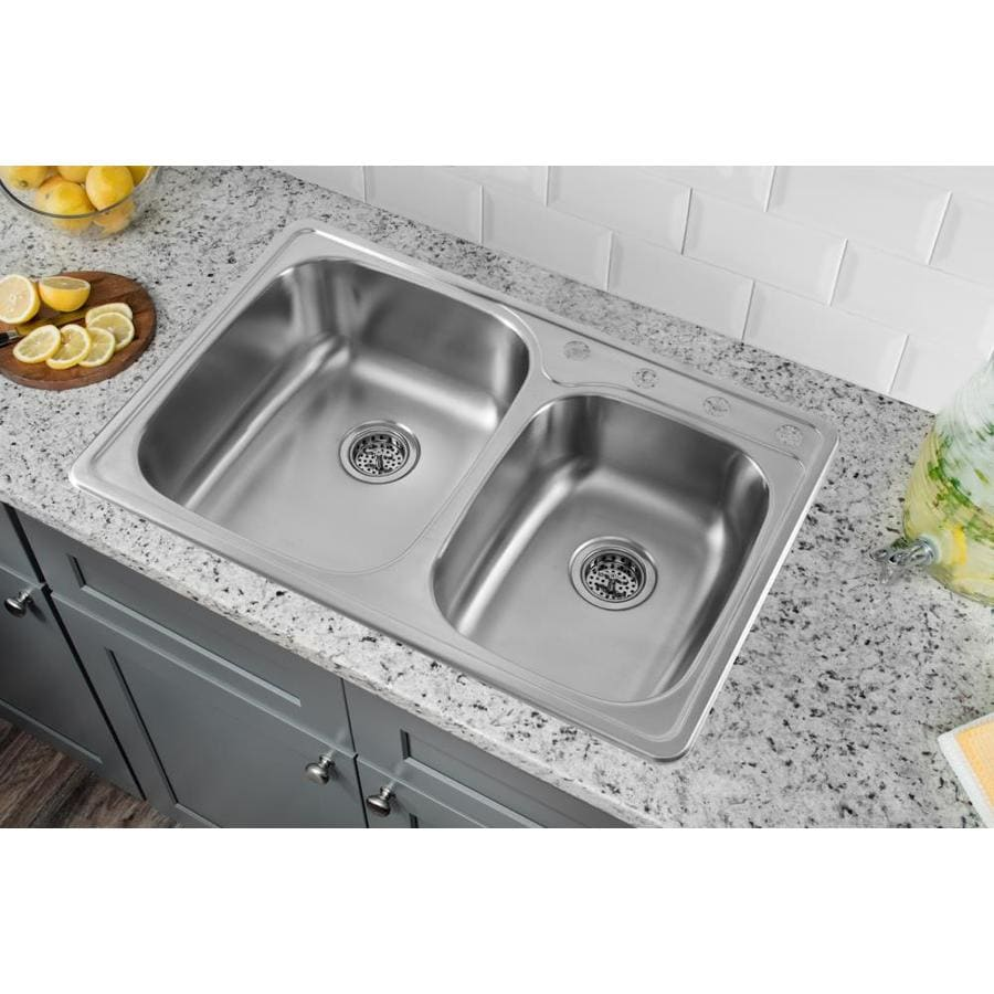 Superior Sinks 33.125-in x 22-in Brushed Satin Double-Basin Stainless Steel Drop-In 4-Hole Residential Kitchen Sink