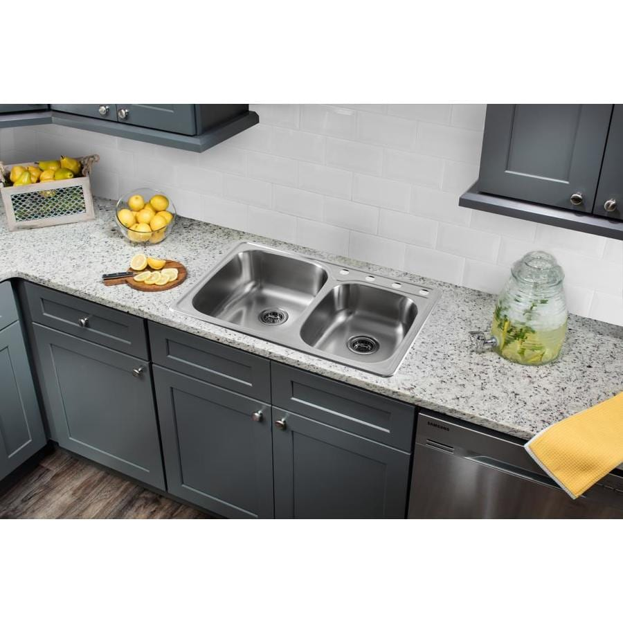 Superior Sinks 33.125-in x 22-in Brushed Satin Double-Basin Drop-in 4-Hole Commercial/Residential Kitchen Sink All-In-One Kit