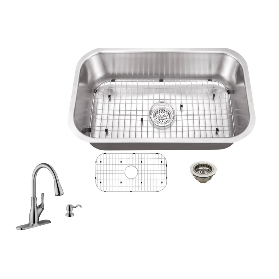 Superior Sinks 30-in x 18-in Brushed Satin Single-Basin Stainless Steel Undermount Commercial/Residential Kitchen Sink All-In-One Kit