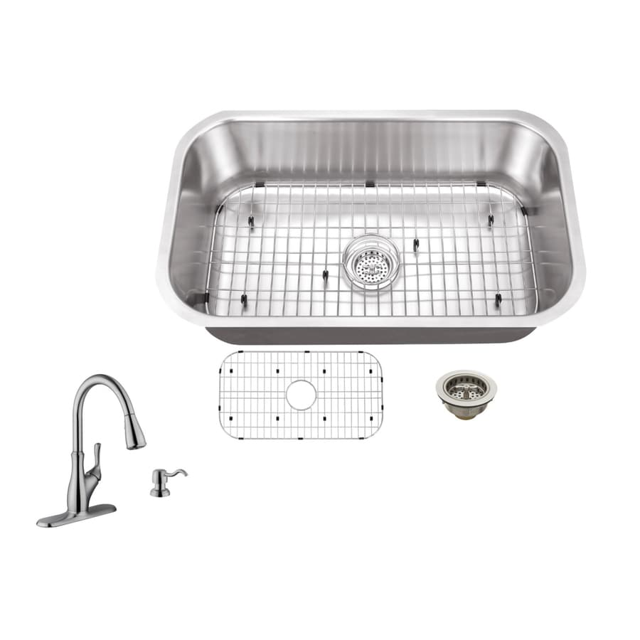 Superior Sinks 30-in x 18-in Brushed Satin Single-Basin Stainless Steel Undermount Residential Kitchen Sink All-in-One Kit
