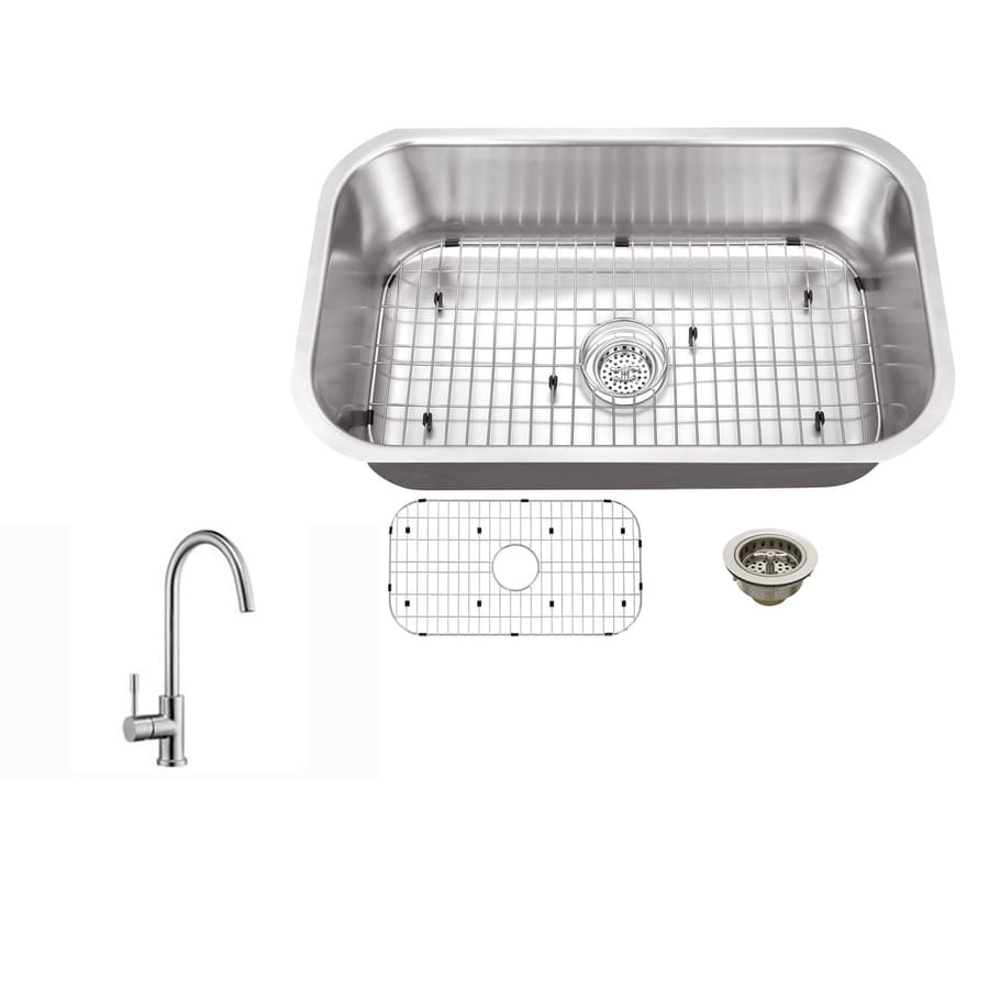 Superior Sinks 30-in x 18-in Brushed Satin Single-Basin-Basin Stainless Steel Undermount (Customizable)-Hole Commercial/Residential Kitchen Sink All-In-One Kit