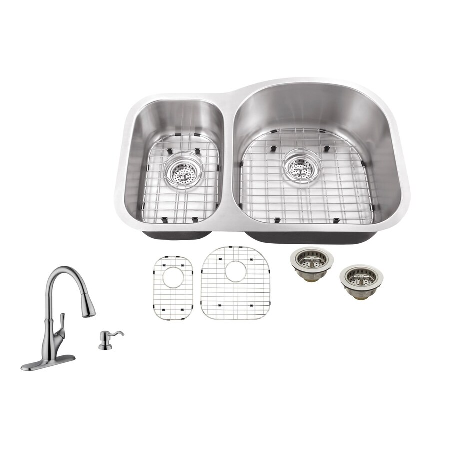 Superior Sinks 31.5-in x 20.5-in Brushed Satin 2 Stainless Steel Undermount (Customizable)-Hole Commercial/Residential Kitchen Sink All-In-One Kit