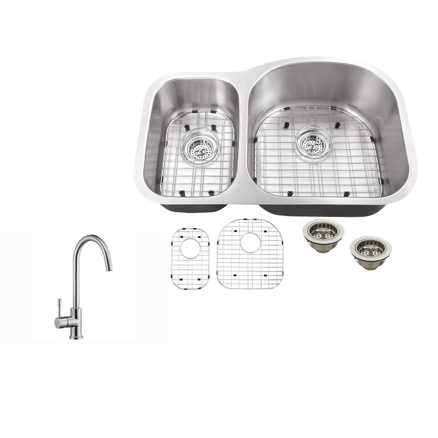 Superior Sinks 31.5-in x 20.5-in Brushed Satin Double-Basin Undermount Commercial/Residential Kitchen Sink All-In-One Kit