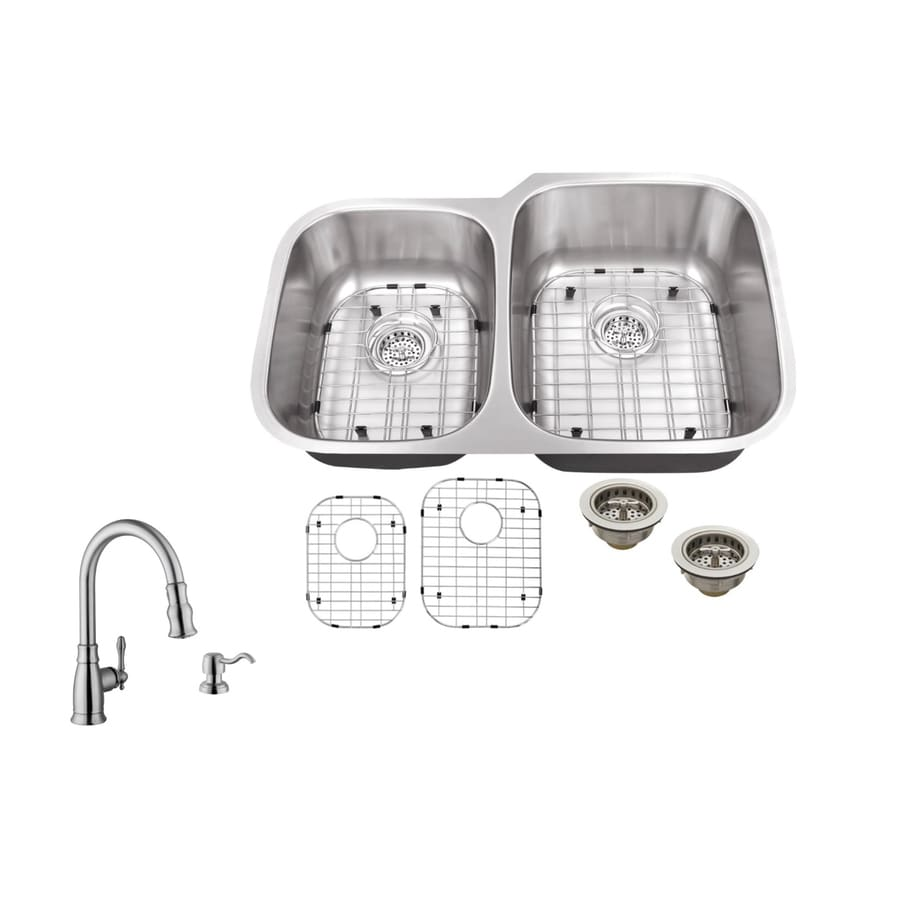 Superior Sinks 32-in x 20.75-in Brushed Satin Double-Basin Stainless Steel Undermount Residential Kitchen Sink All-in-One Kit