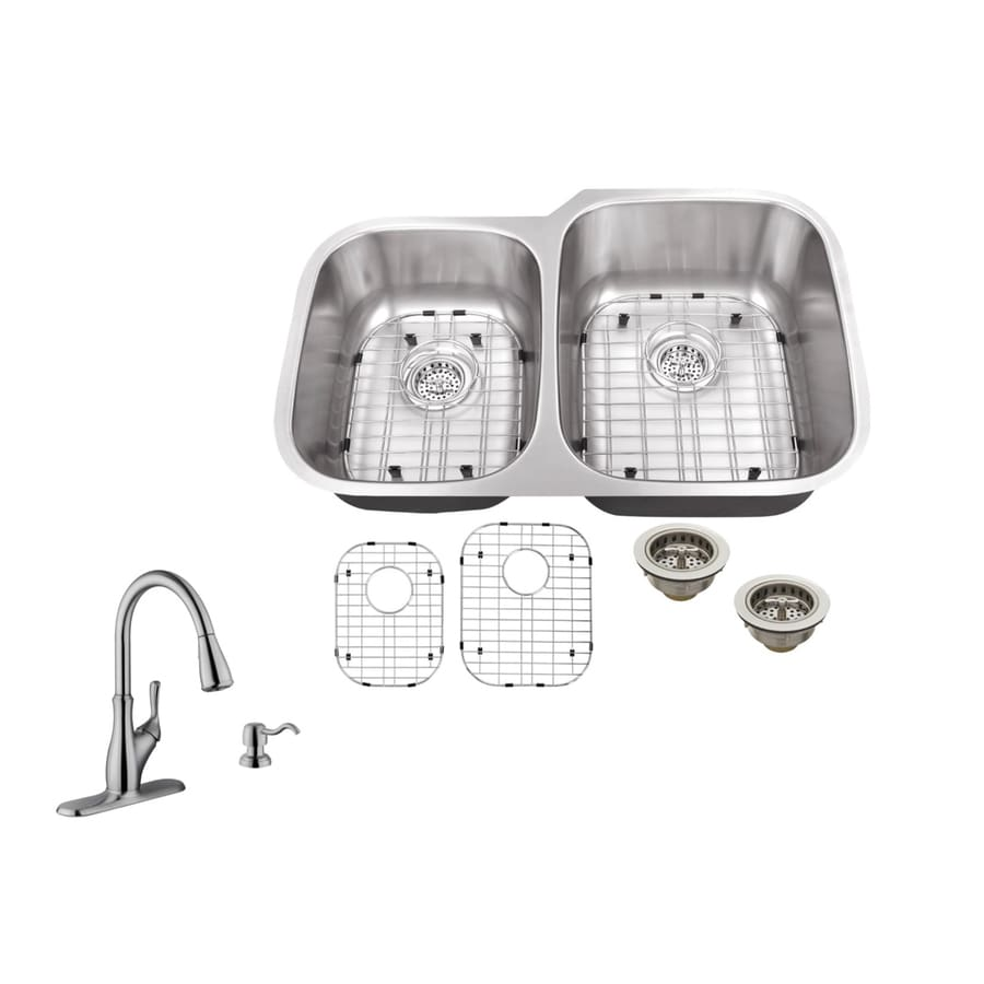 Superior Sinks 32-in x 20.75-in Brushed Satin Double-Basin Undermount Commercial/Residential Kitchen Sink All-In-One Kit