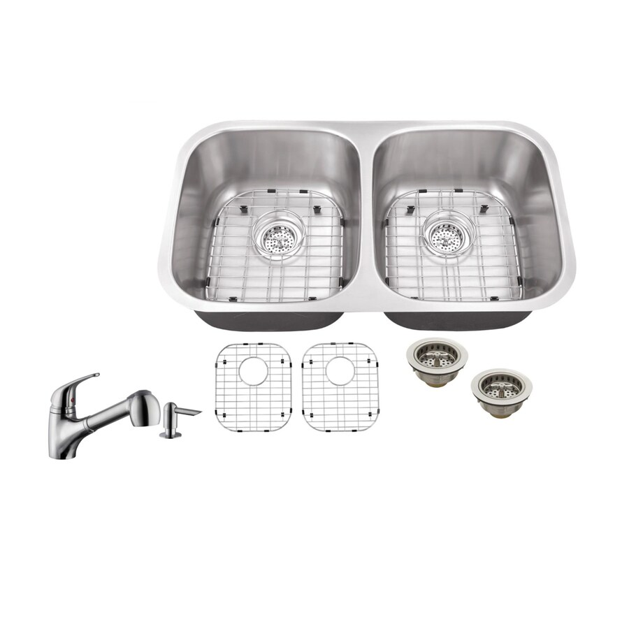 Superior Sinks 32.25-in x 18.5-in Brushed Satin Single-Basin-Basin Stainless Steel Undermount (Customizable)-Hole Commercial/Residential Kitchen Sink All-In-One Kit