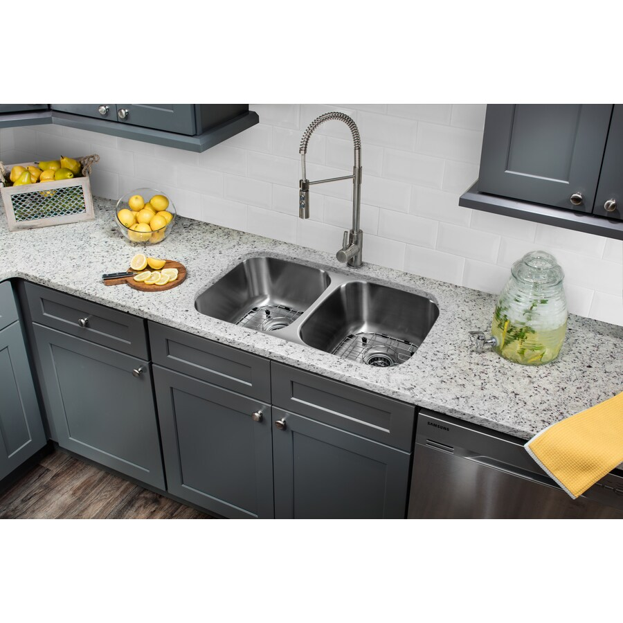 Superior Sinks 32.25-in x 18.5-in Brushed Satin Double-Basin Stainless Steel Undermount Commercial/Residential Kitchen Sink All-In-One Kit
