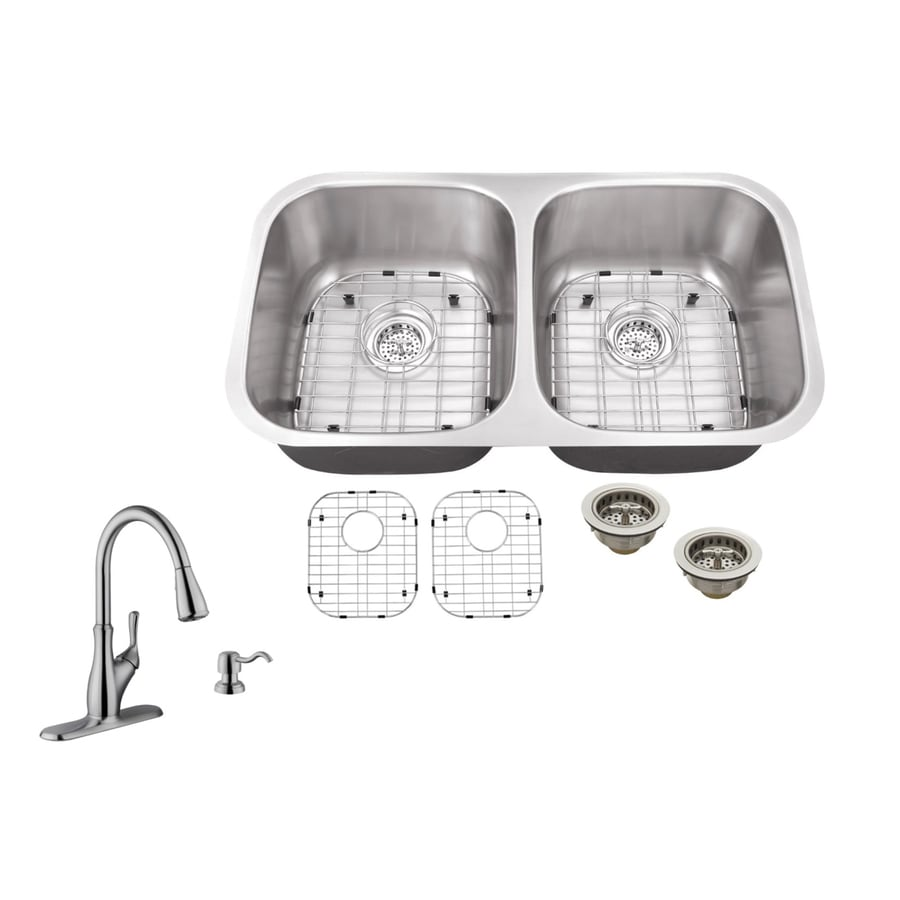 Superior Sinks 32.25-in x 18.5-in Brushed Satin Double-Basin Stainless Steel Undermount Residential Kitchen Sink All-in-One Kit