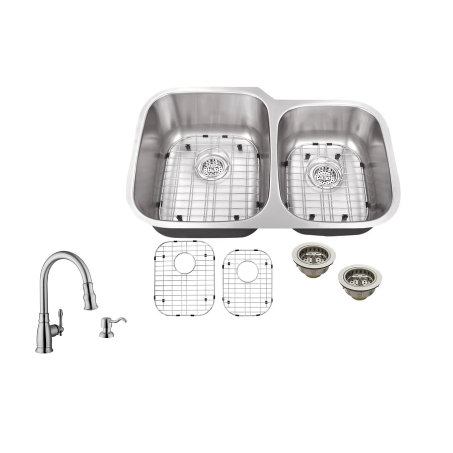Superior Sinks 32-in x 20.75-in Brushed Satin Double-Basin Stainless Steel Undermount Commercial/Residential Kitchen Sink All-In-One Kit