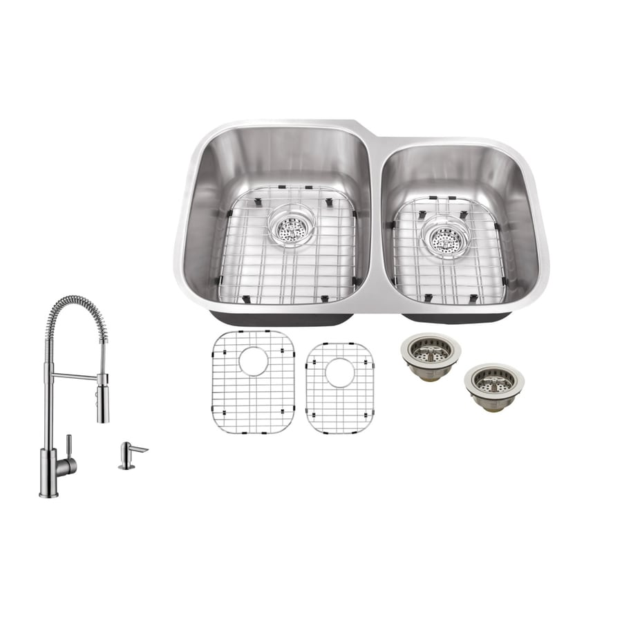 Superior Sinks 32-in x 20.75-in Brushed Satin Single-Basin-Basin Stainless Steel Undermount (Customizable)-Hole Commercial/Residential Kitchen Sink All-In-One Kit