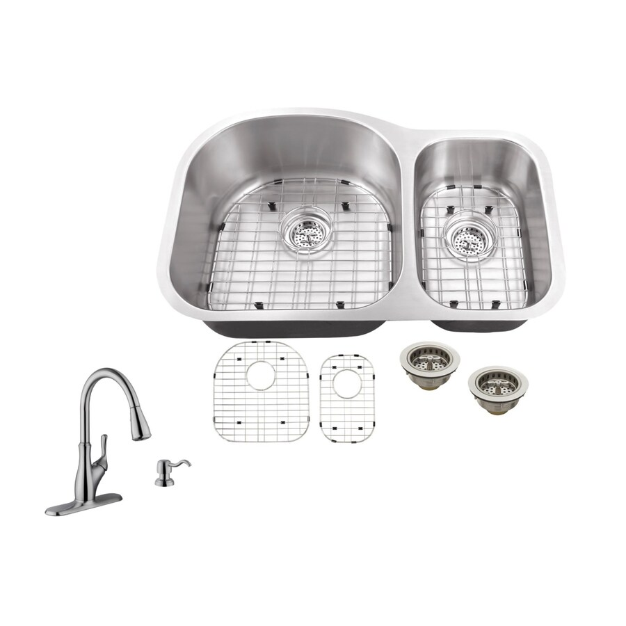 Superior Sinks 31.5-in x 20.5-in Brushed Satin Double-Basin Stainless Steel Undermount Residential Kitchen Sink All-in-One Kit
