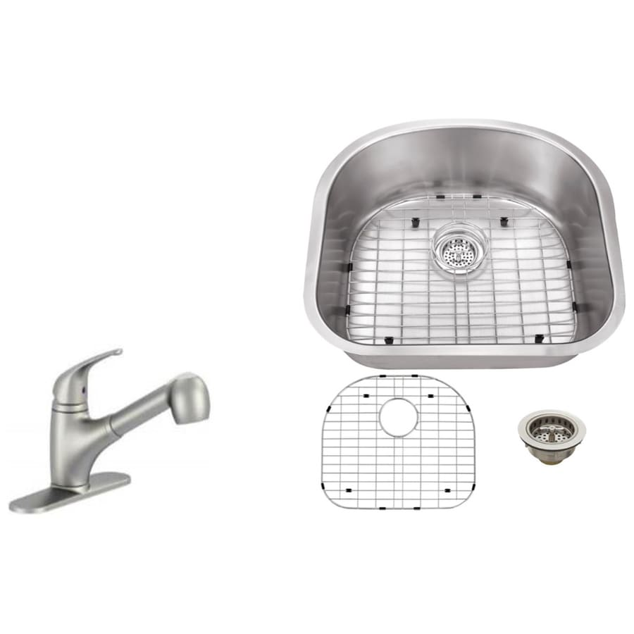 Superior Sinks 23.25-in x 20.88-in Brushed Satin Single-Basin Undermount Commercial/Residential Kitchen Sink All-In-One Kit