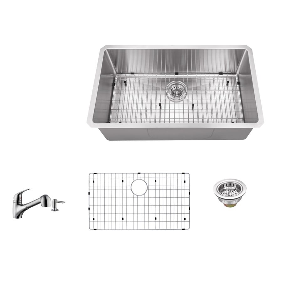 Superior Sinks 32-in x 19-in Brushed Satin Single-Basin Stainless Steel Undermount Residential Kitchen Sink All-In-One Kit