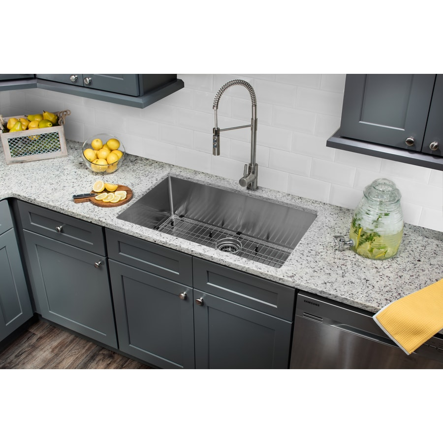 Superior Sinks 32-in x 19-in Brushed Satin Single-Basin Stainless Steel Undermount Commercial/Residential Kitchen Sink All-In-One Kit