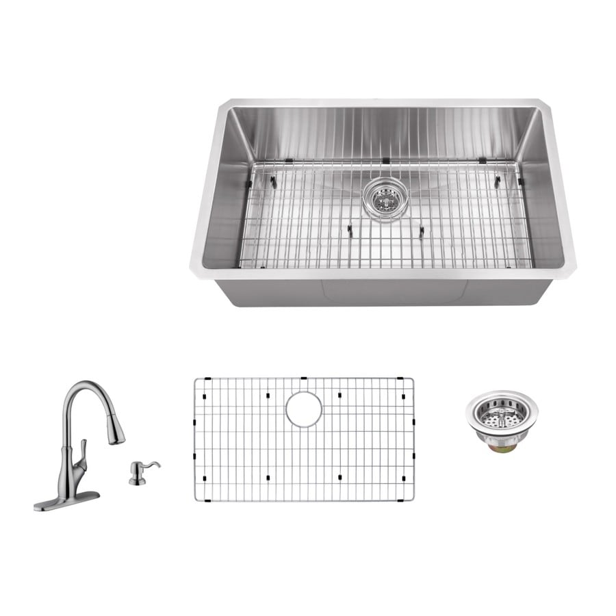 Superior Sinks 32-in x 19-in Brushed Satin 1 Stainless Steel Undermount (Customizable)-Hole Commercial/Residential Kitchen Sink All-In-One Kit