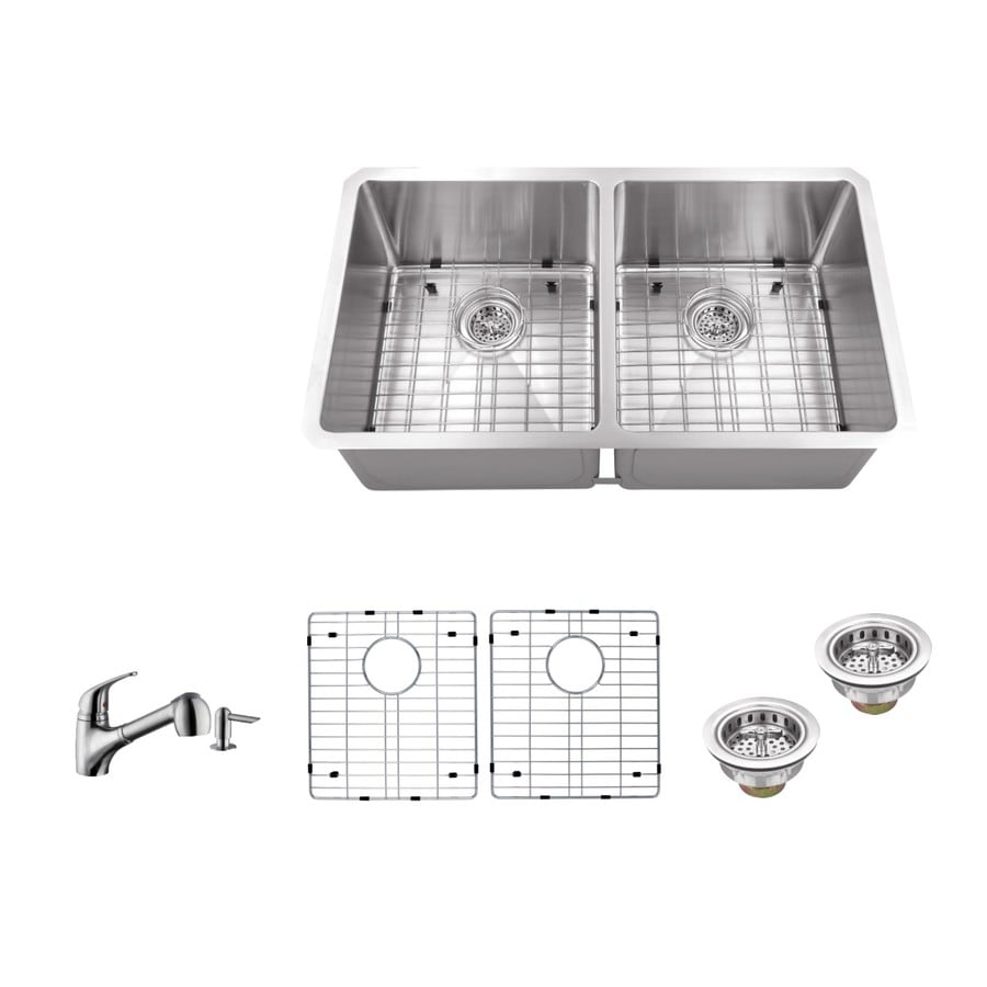 Superior Sinks 32-in x 19-in Brushed Satin Double-Basin Stainless Steel Undermount Residential Kitchen Sink All-In-One Kit