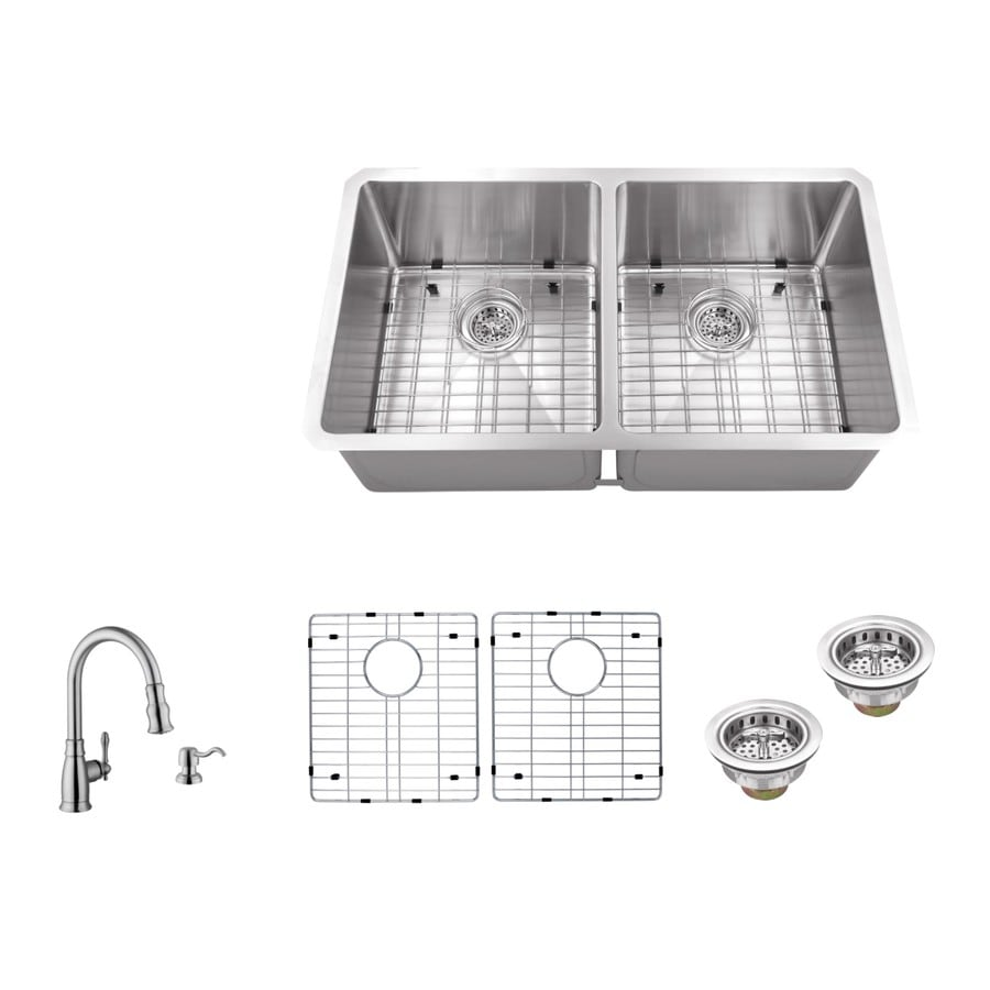 Superior Sinks 32-in x 19-in Brushed Satin Single-Basin-Basin Stainless Steel Undermount (Customizable)-Hole Residential Kitchen Sink All-In-One Kit