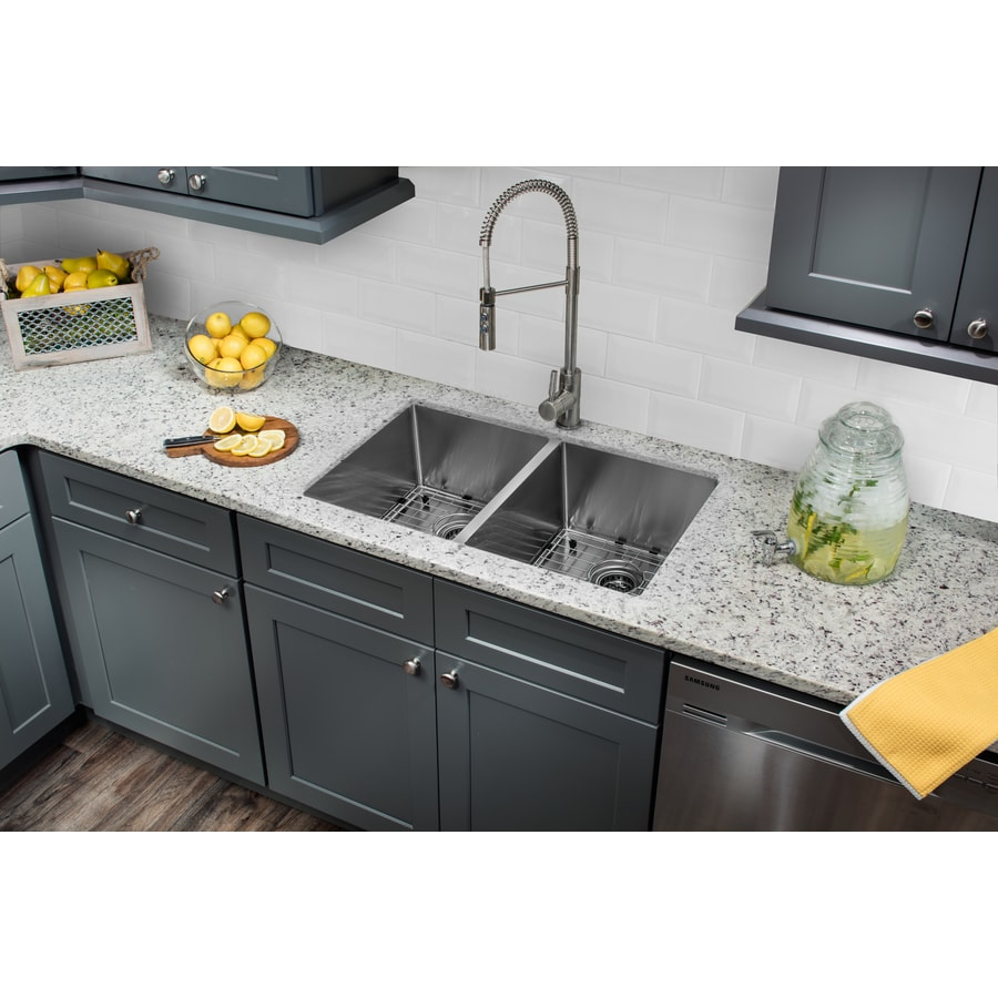 Superior Sinks 32-in x 19-in Brushed Satin Double-Basin Undermount Commercial/Residential Kitchen Sink All-In-One Kit