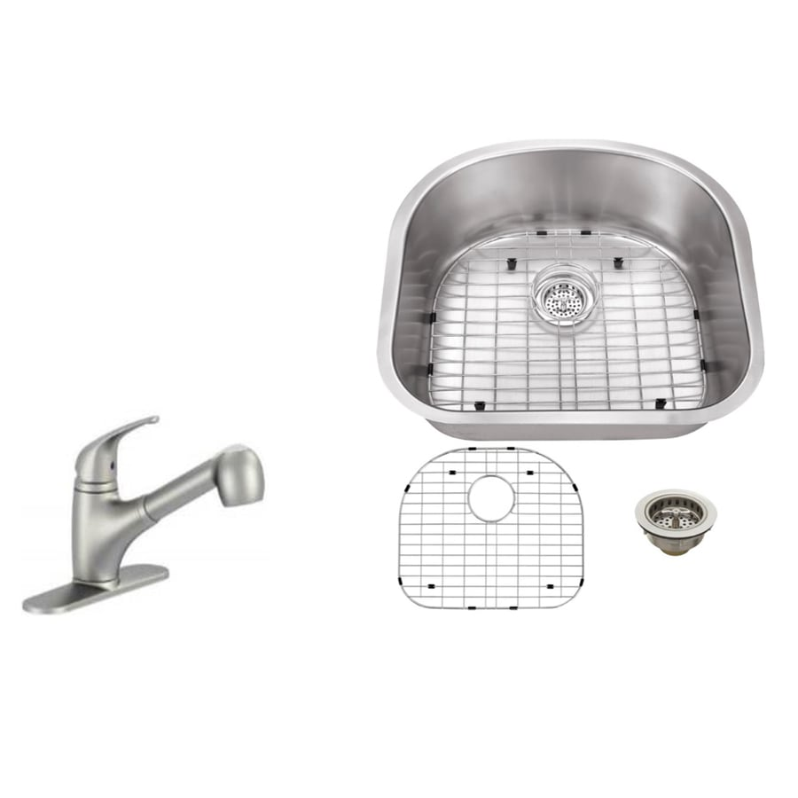 Superior Sinks 23.25-in x 20.875-in Brushed Satin Single-Basin Stainless Steel Undermount Residential Kitchen Sink All-in-One Kit
