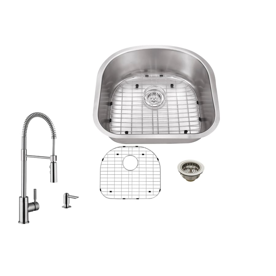 Superior Sinks 23.25-in x 20.875-in Brushed Satin Single-Basin Undermount Commercial/Residential Kitchen Sink All-In-One Kit
