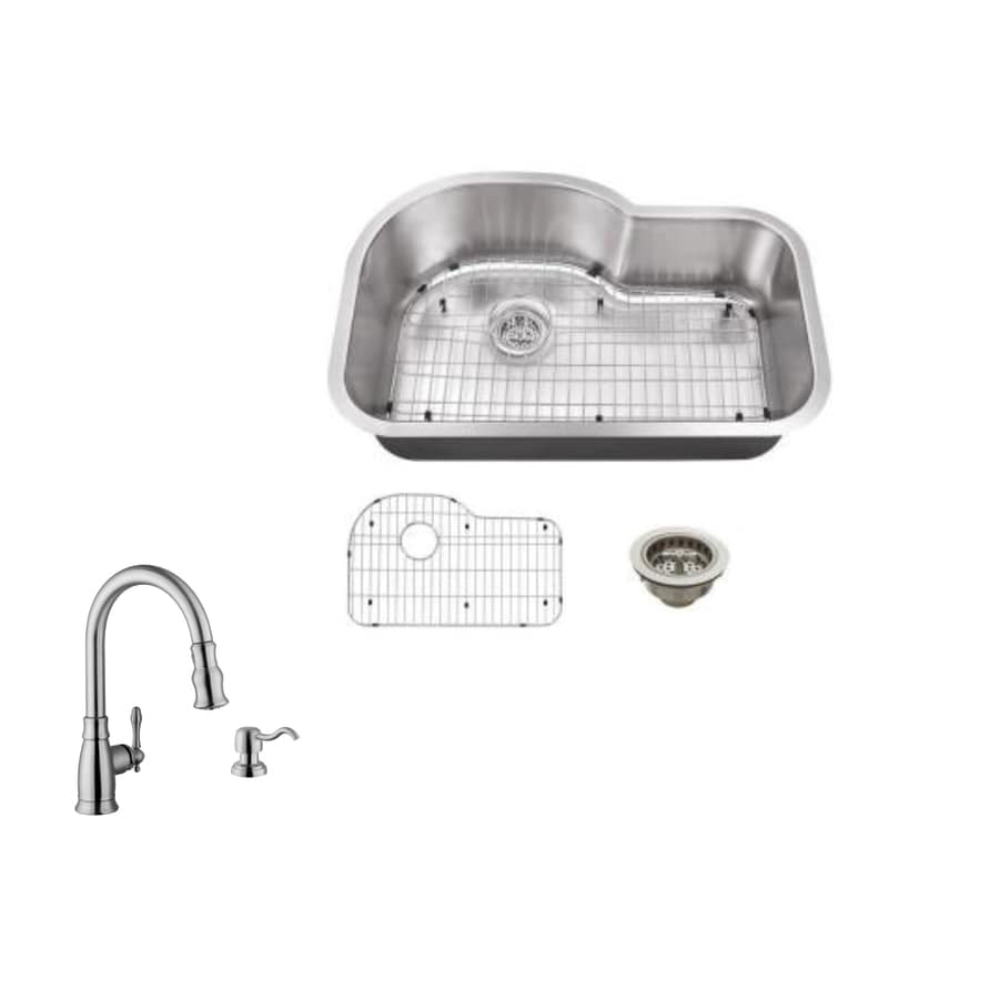 Superior Sinks 31.5-in x 21.125-in Brushed Satin Single-Basin Stainless Steel Undermount Residential Kitchen Sink All-in-One Kit