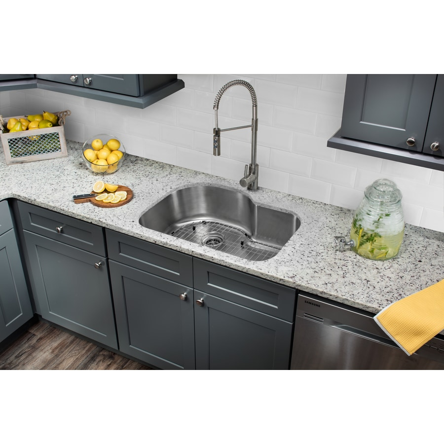 Superior Sinks 31.5-in x 21.125-in Brushed Satin Single-Basin-Basin Stainless Steel Undermount (Customizable)-Hole Commercial/Residential Kitchen Sink All-In-One Kit
