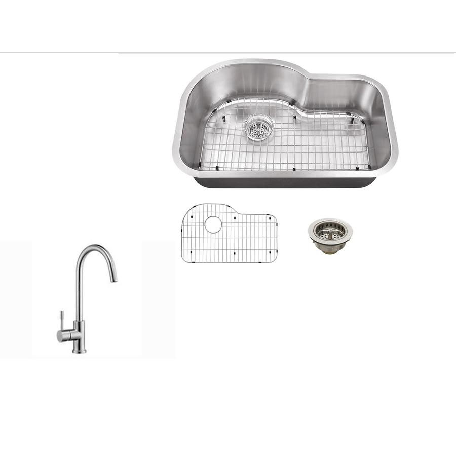 Superior Sinks 31.5-in x 21.125-in Brushed Satin Single-Basin Undermount Commercial/Residential Kitchen Sink All-In-One Kit