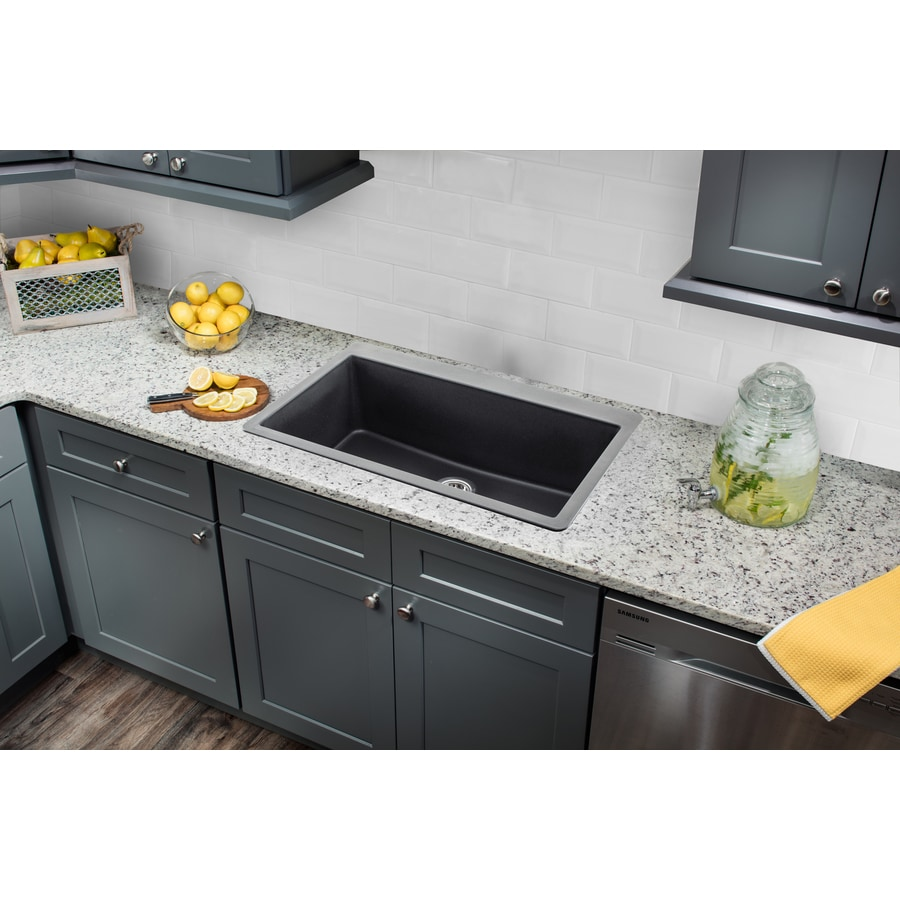 Superior Sinks 33-in x 20.875-in Onyx Black Single-Basin Granite Drop-In 3-Hole Residential Kitchen Sink
