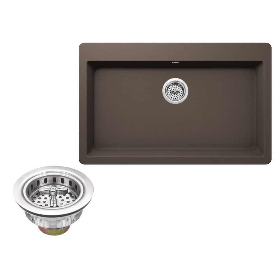 Superior Sinks 33-in x 20.875-in Mocha Brown Single-Basin Granite Drop-In 3-Hole Residential Kitchen Sink