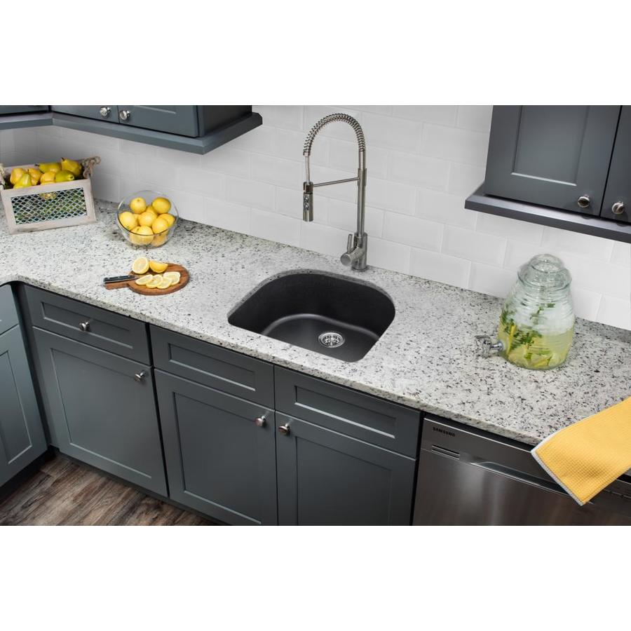 Superior Sinks 25-in x 22-in Onyx Black Single-Basin Granite Drop-In 2-Hole Residential Kitchen Sink